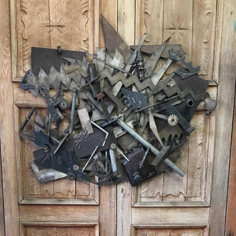 American Steel with Found Objects Brutal Wall Sculpture by Bruce Gray For Sale