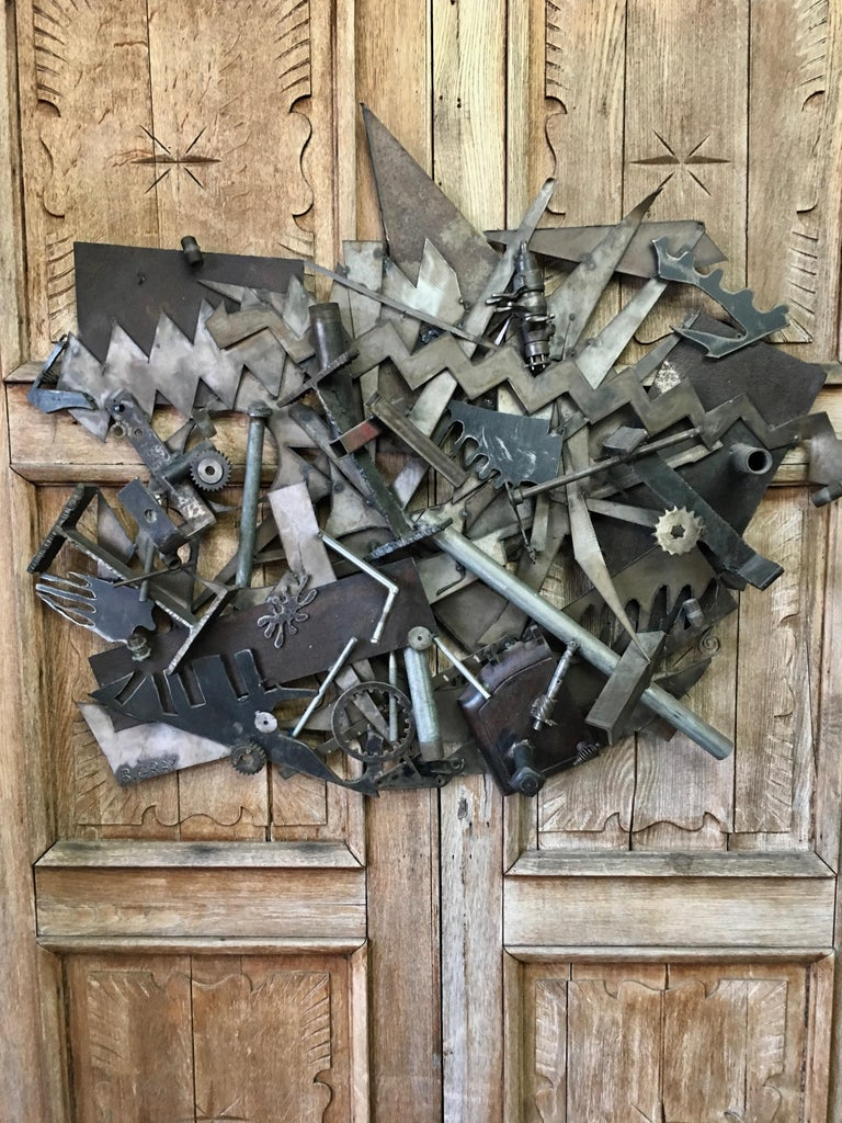 Steel with Found Objects Brutal Wall Sculpture by Bruce Gray In Good Condition For Sale In Laguna Hills, CA