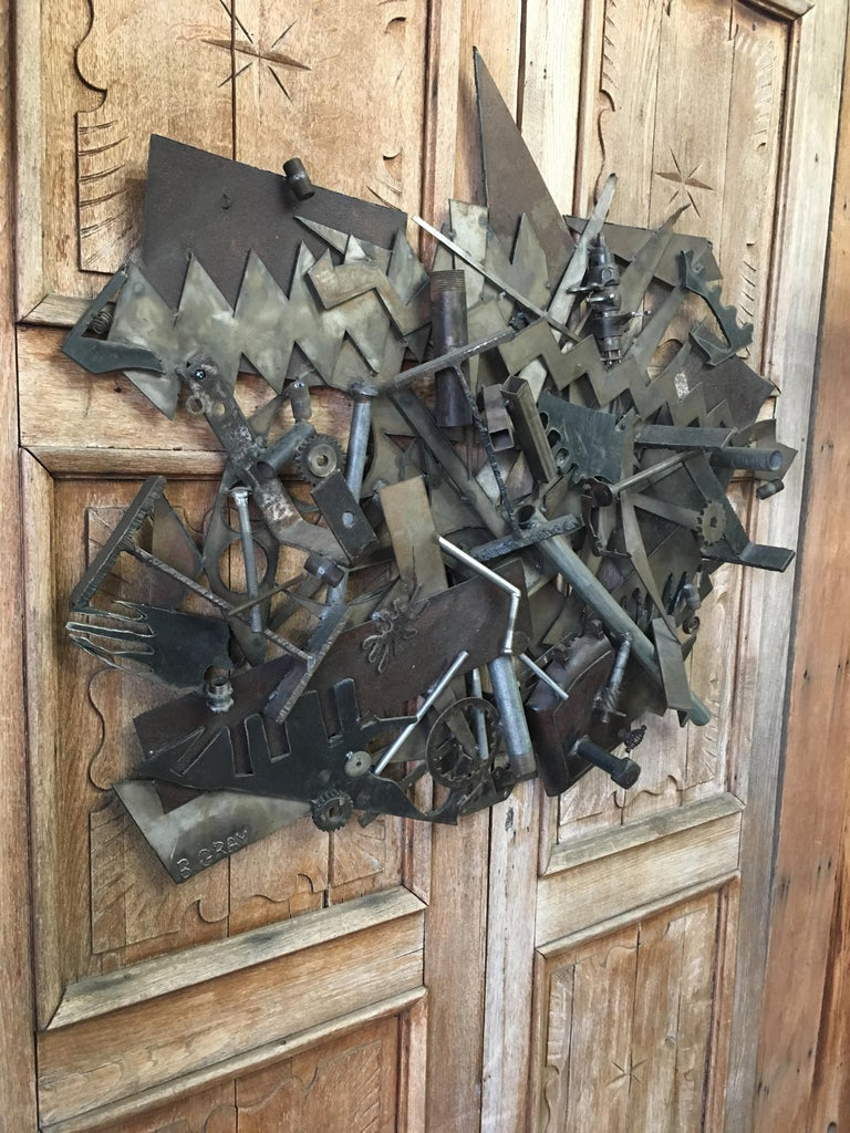 20th Century Steel with Found Objects Brutal Wall Sculpture by Bruce Gray For Sale