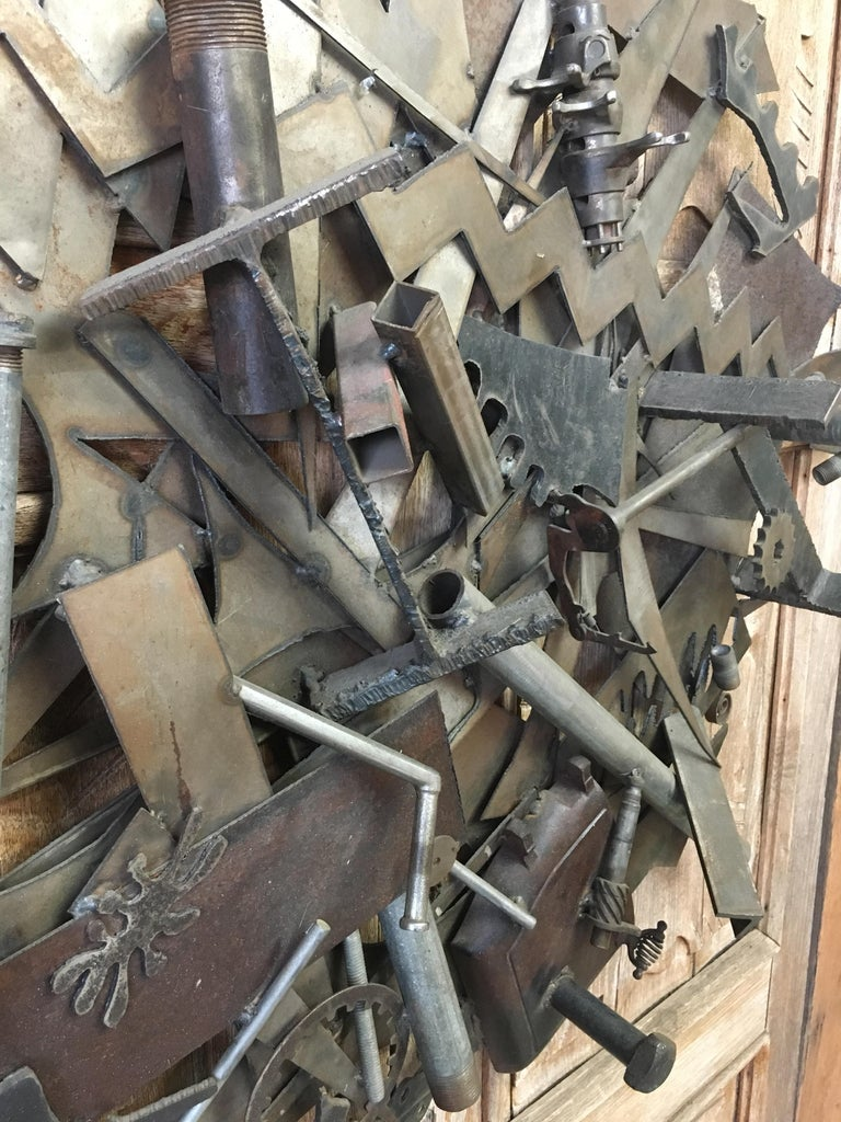 Steel with Found Objects Brutal Wall Sculpture by Bruce Gray For Sale 2