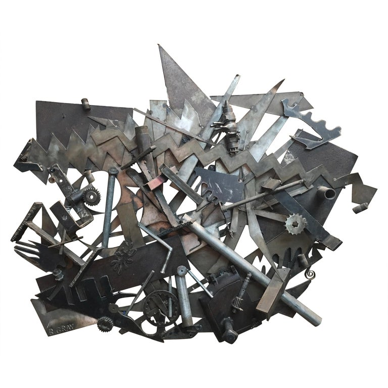 Steel with Found Objects Brutal Wall Sculpture by Bruce Gray For Sale