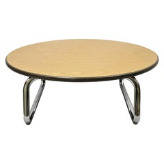 Steelcase Chrome Base Round Formica Top Mid-Century Modern Office Coffee Table
