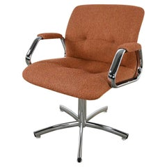 Steelcase Chrome Brown Upholstery Swivel Chair Model #454 Style Charles Pollock