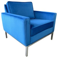 Steelcase Chromed Steel Lounge Chair Draped in Blue Velvet Midcentury