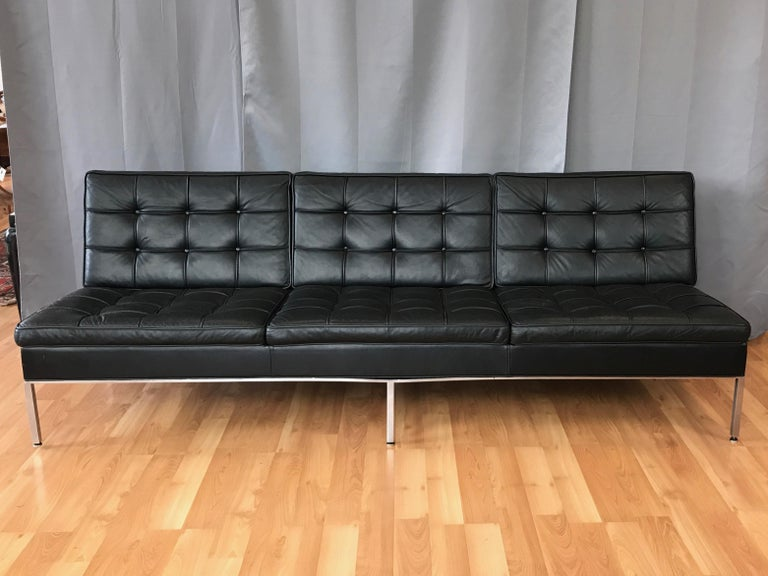 Steelcase Florence Knoll-Style Extra-Long Tufted Black Leather Sofa, 1960s