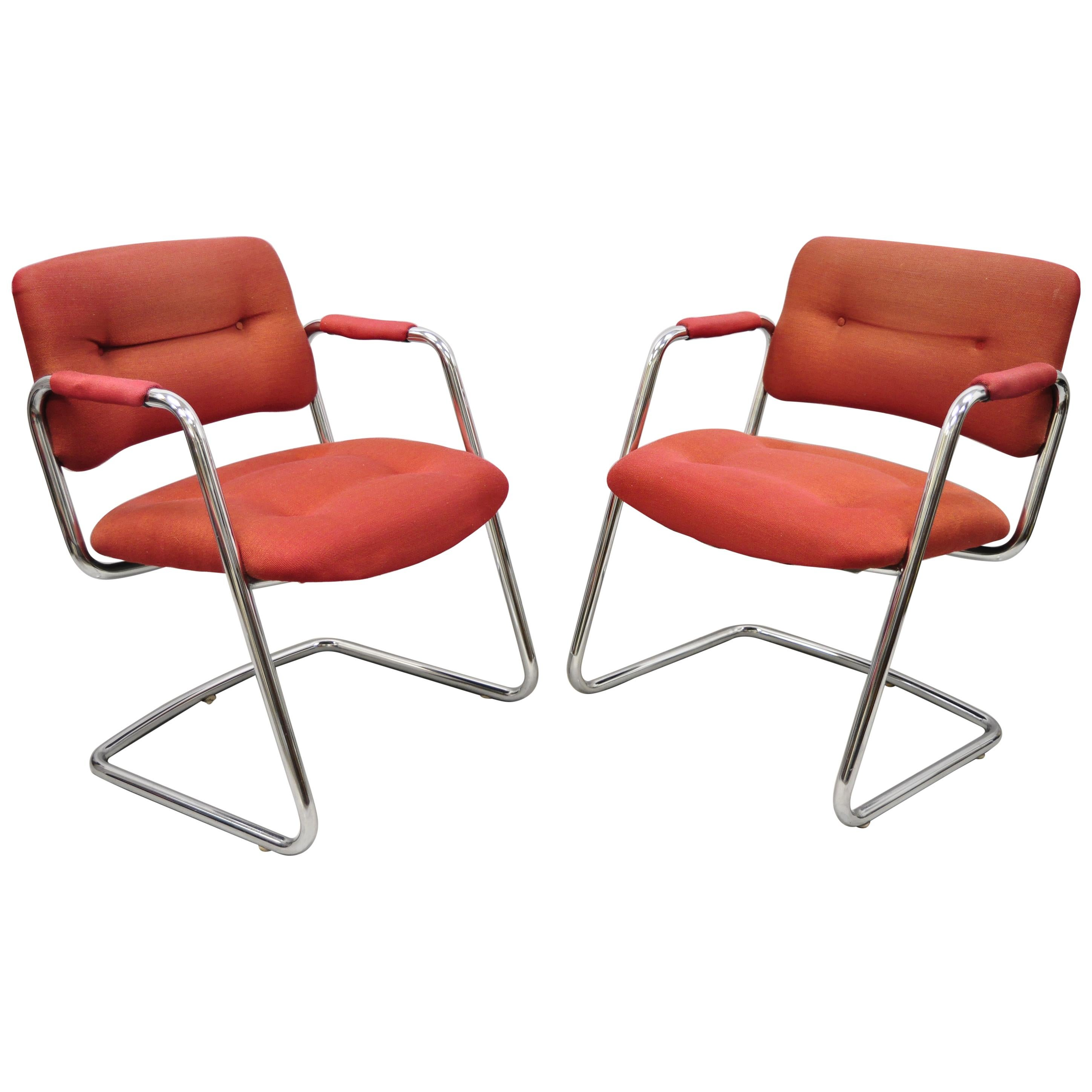 Steelcase Mid-Century Modern Tubular Chrome Red Upholstered Arm Lounge Chairs A