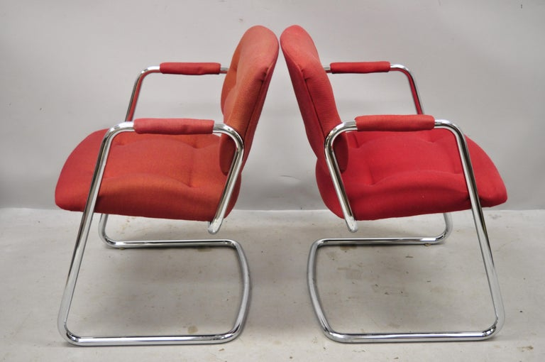 North American Steelcase Mid-Century Modern Tubular Chrome Red Upholstered Arm Lounge Chairs B For Sale