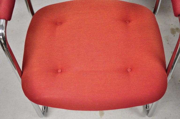Steelcase Mid-Century Modern Tubular Chrome Red Upholstered Arm Lounge Chairs B For Sale 1