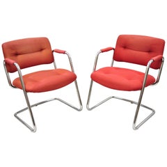 Steelcase Mid-Century Modern Tubular Chrome Red Upholstered Arm Lounge Chairs B