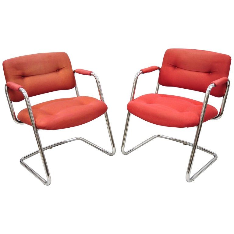 Steelcase Mid-Century Modern Tubular Chrome Red Upholstered Arm Lounge Chairs B For Sale