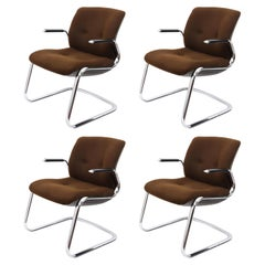 Steelcase Midcentury Chromed Steel and Brown Fabric American Armchairs, 1980s