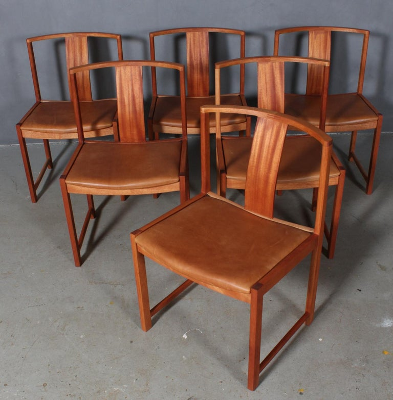 Steen Eiler Rasmussen set of six dining chairs in mahogany.