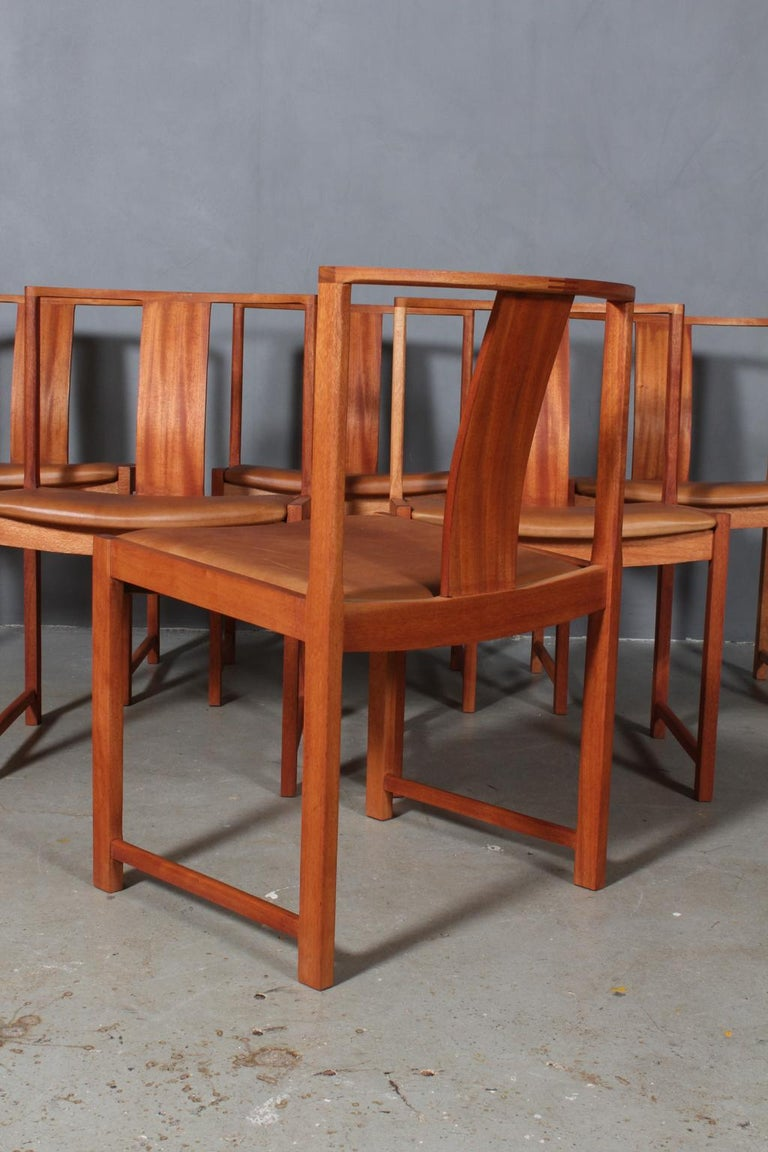 Leather Steen Eiler Rasmussen Set of Six Dining Chairs