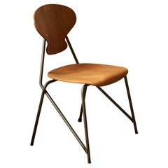 Steen Eiler Rasmussen, Side Chair from Rungsted Skole, Metal, Oak, Denmark, 1954