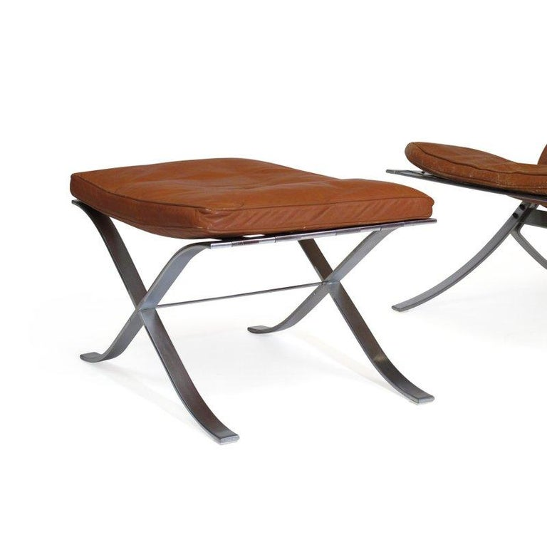 Steen Ostergaard Steel and Leather Lounge Chair and Foot Stool For Sale 4
