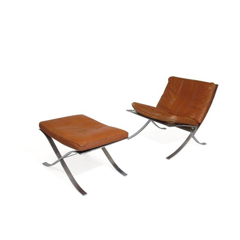 Steen Ostergaard Steel and Leather Lounge Chair and Foot Stool For Sale 5
