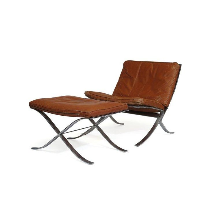 Steen Ostergaard Steel and Leather Lounge Chair and Foot Stool For Sale 6
