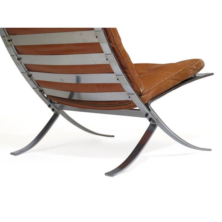 Steen Ostergaard Steel and Leather Lounge Chair and Foot Stool For Sale 1
