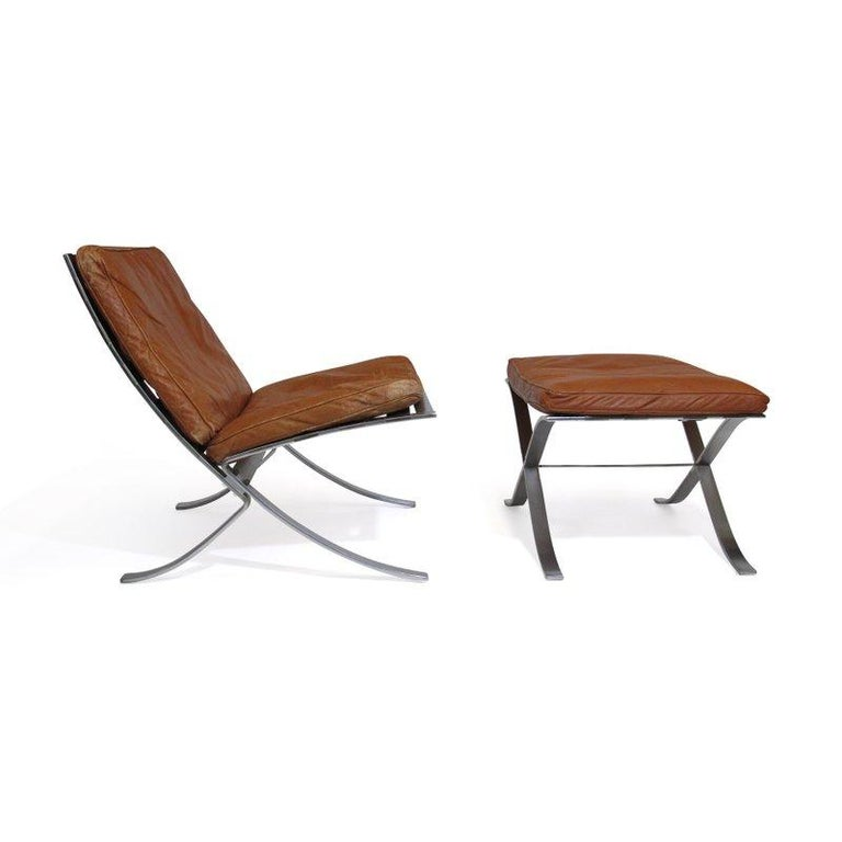 Steen Ostergaard Steel and Leather Lounge Chair and Foot Stool For Sale 2