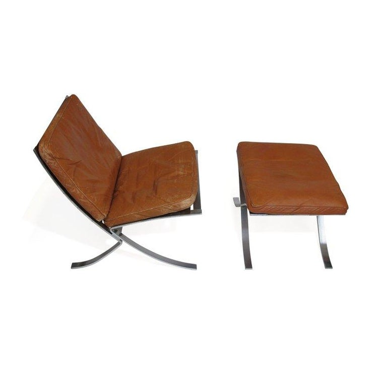 Steen Ostergaard Steel and Leather Lounge Chair and Foot Stool For Sale 3
