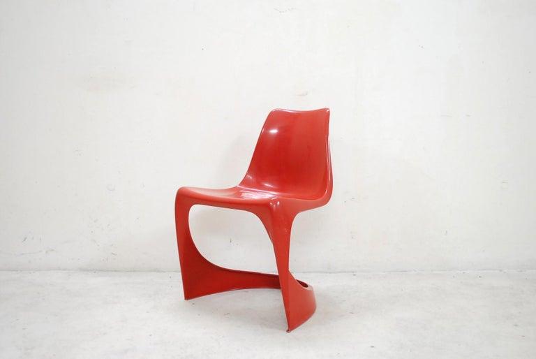 Scandinavian Modern Steen Ostergaard Model 290 Pair of Red Chair for Cado, 1970 For Sale