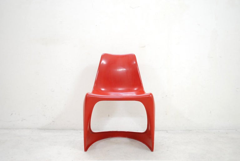 Plastic Steen Ostergaard Model 290 Pair of Red Chair for Cado, 1970 For Sale