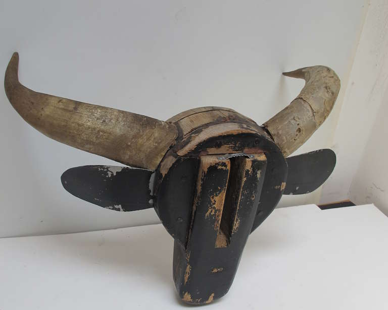 Wood Steer Head Barn Folk Sculpture For Sale