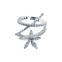 Stefan Hafner 0.51 Carat, Set in 18kt White Gold Diamond Flower Cocktail Ring