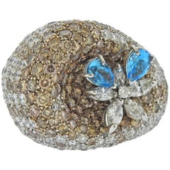 Stefan Hafner 10.19 Carat Fancy Diamond Topaz Gold Cocktail Ring