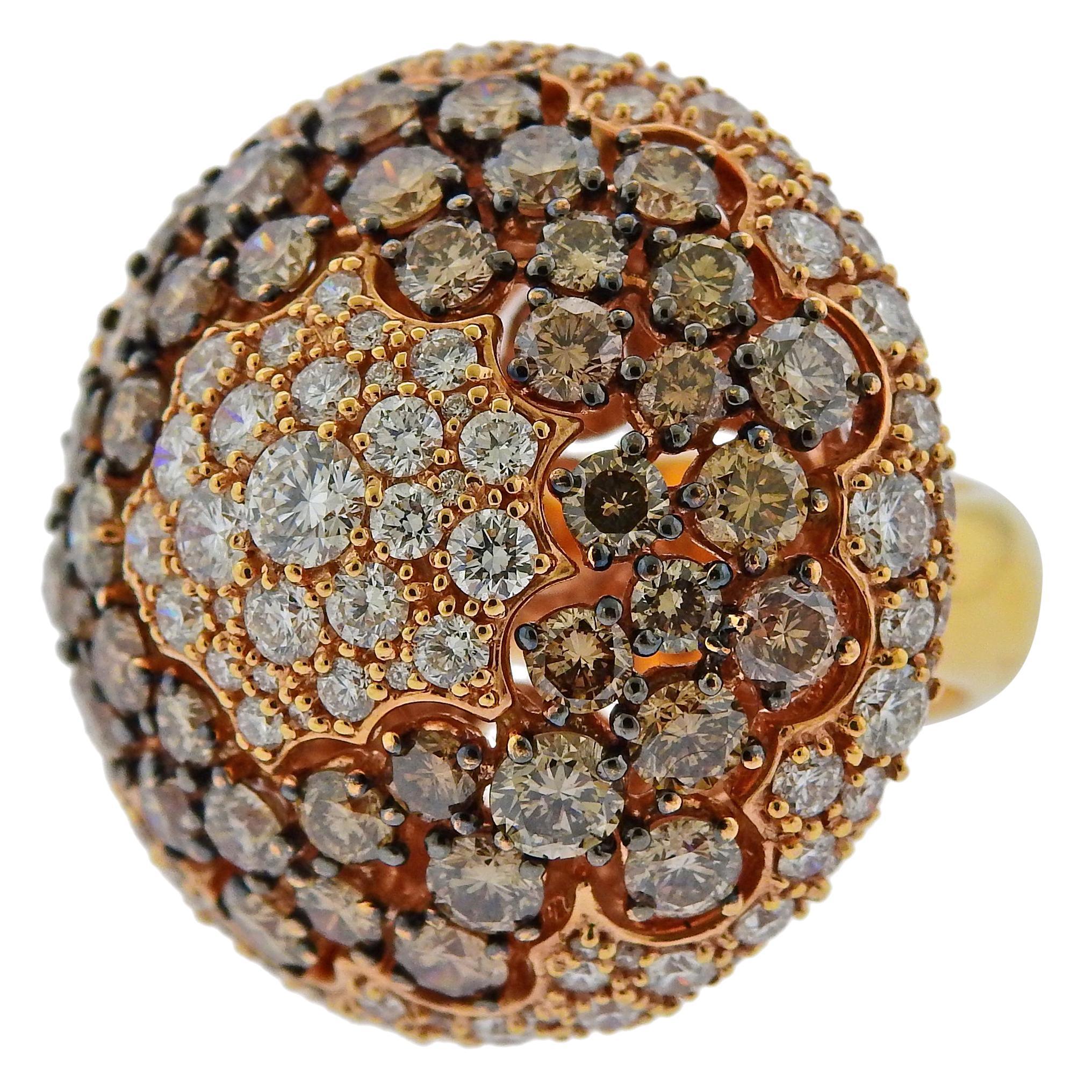 Stefan Hafner 10.70 Carat Fancy Diamond Gold Cocktail Ring