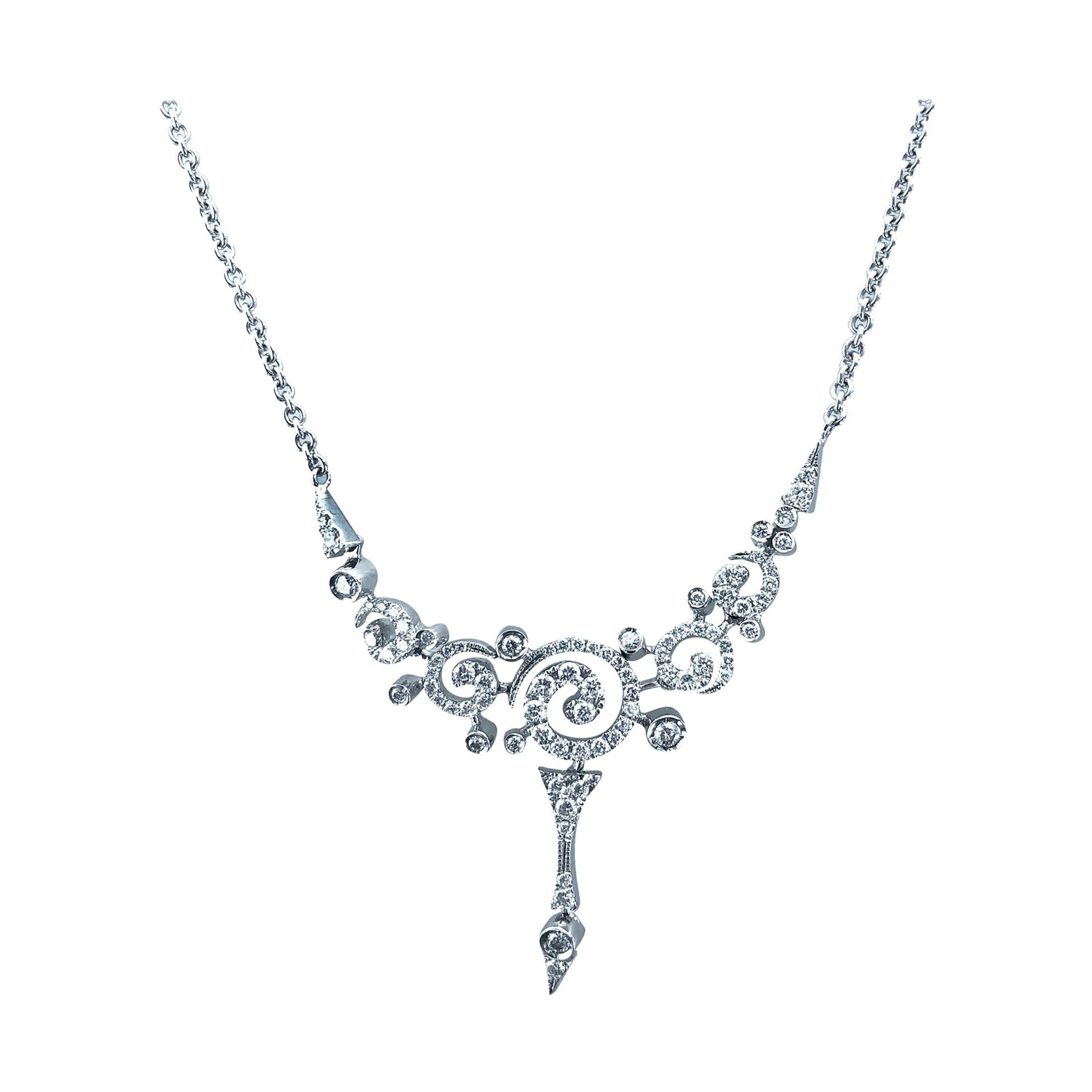 Stefan Hafner 1.15 Carats, 18kt White Gold Mini Swirl Diamond Necklace