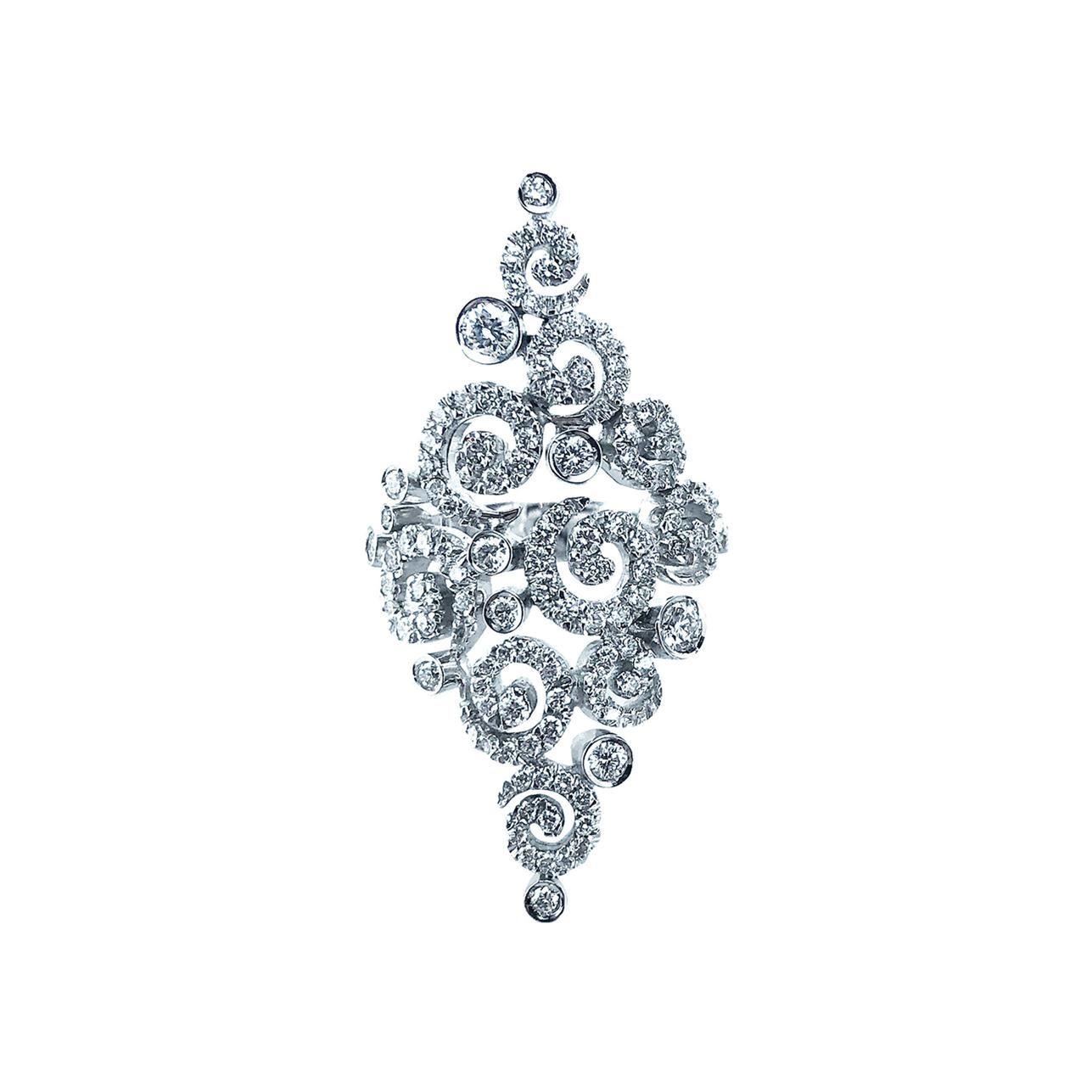 Stefan Hafner 1.22 Carat 18kt White Gold Swirl Diamond Ring