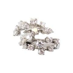 Stefan Hafner 1.50 Carat Total Diamond Spray Bypass Ring 18 Karat White Gold
