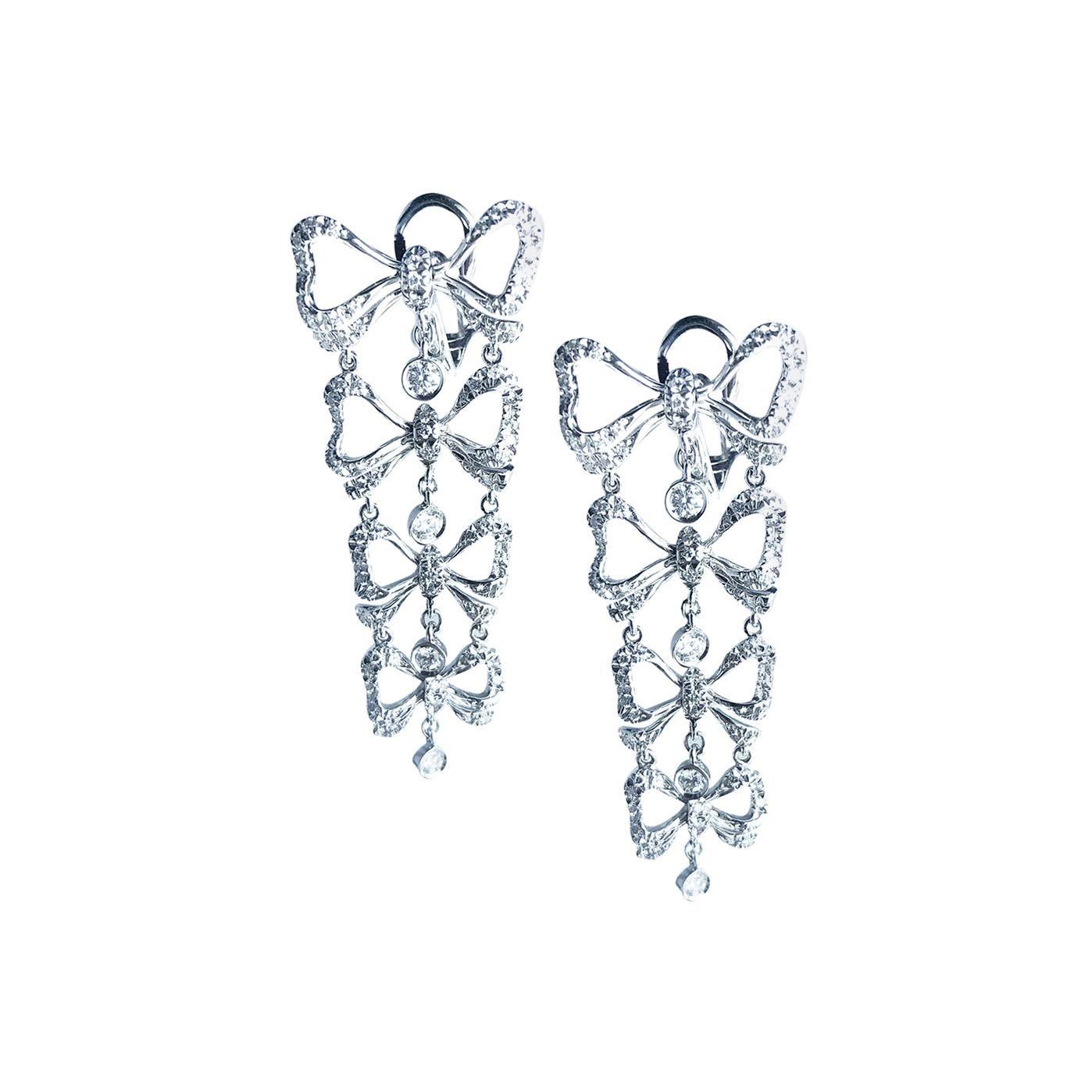 Stefan Hafner 1.52 Carat Diamond Birthday Bow Dangling Earrings