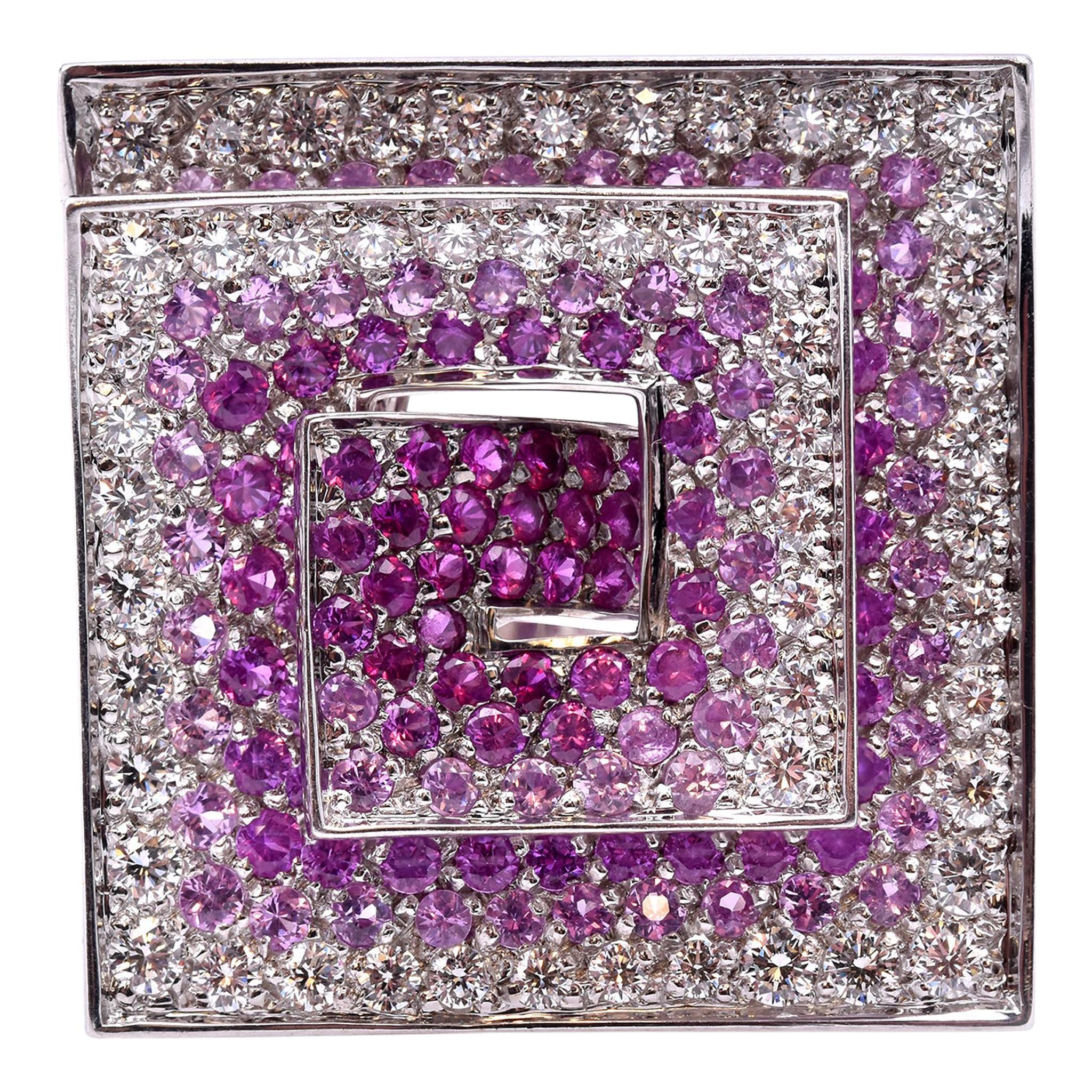 Stefan Hafner 18 Karat White Gold Diamond and Pink Sapphire Geometric Ring