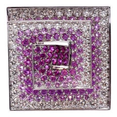 Stefan Hafner 18 Karat White Gold Diamond and Pink Sapphire Geometric Ring