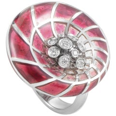 Stefan Hafner 18 Karat White Gold Enamel Diamond and Crystal Cocktail Ring