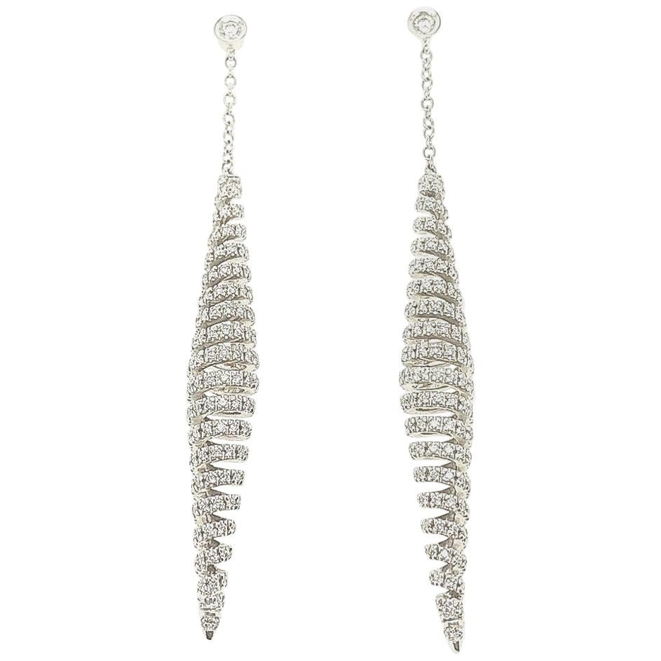 Stefan Hafner 18 Karat White Gold Spiral Dangle Chandelier Diamond Earrings