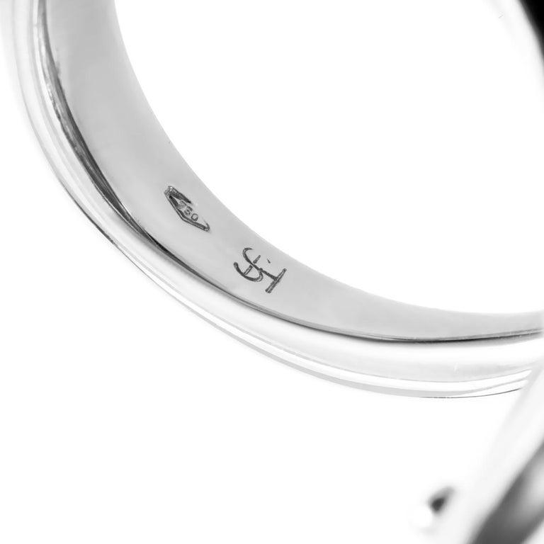 Women's Stefan Hafner 18 Karat White Gold Enamel Diamond and Crystal Cocktail Ring For Sale