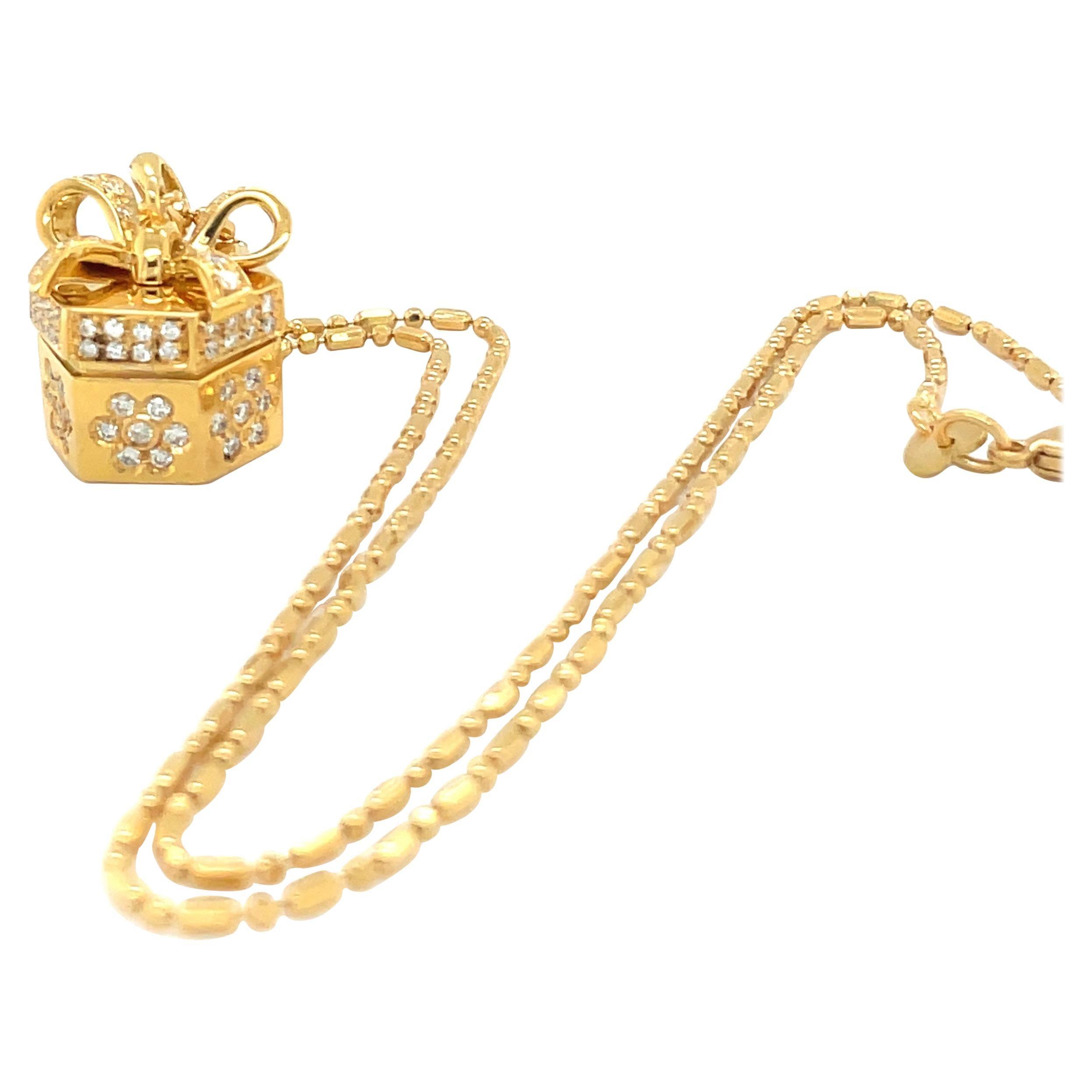 Stefan Hafner 18KT YG Diamond .62CT Ruby .19CT. Pendant Gift Box Charm Necklace