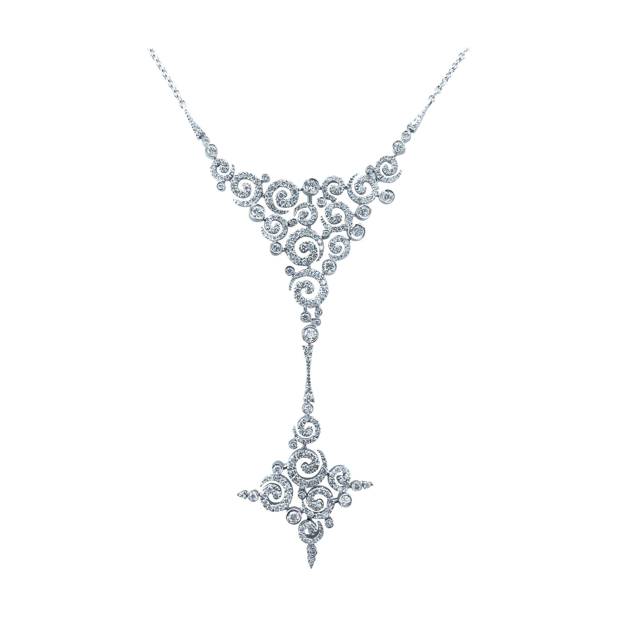 Stefan Hafner Diamond 2.89 Carat, Large Swirl Necklace