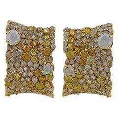 Stefan Hafner 4.18 Carat Multi-Color Diamond Gold Earrings