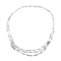 Stefan Hafner 4.19 Carats 18kt White Gold 3 Tiered Diamond Necklace