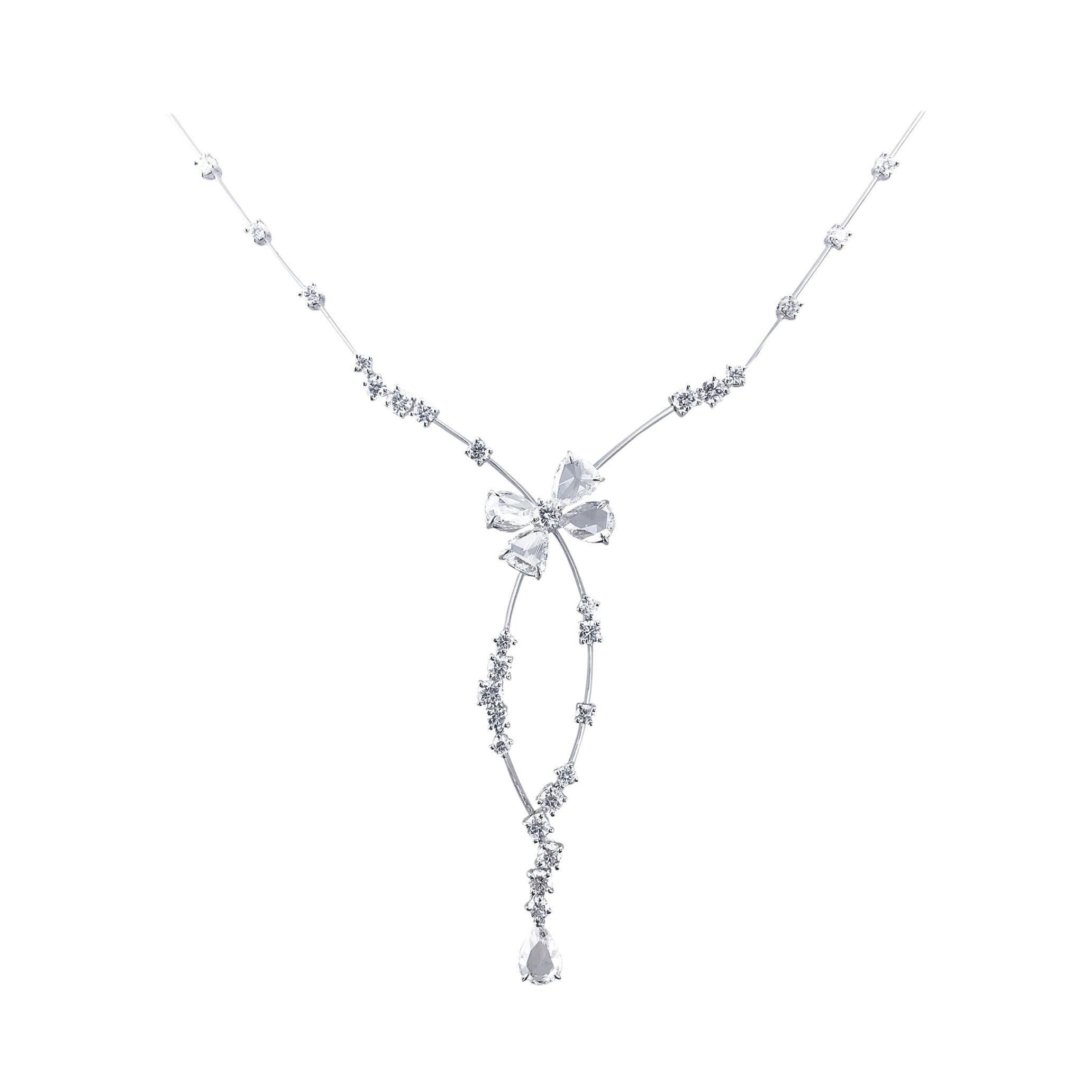Stefan Hafner 6.18 Carats, Set in 18kt White Gold, Rose Cut Bow Diamond Necklace