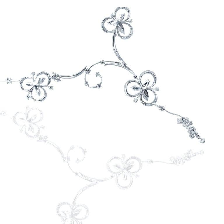 Artisan Stefan Hafner 6.40 Carat 18kt White Gold Lucky Charm Diamond Necklace For Sale