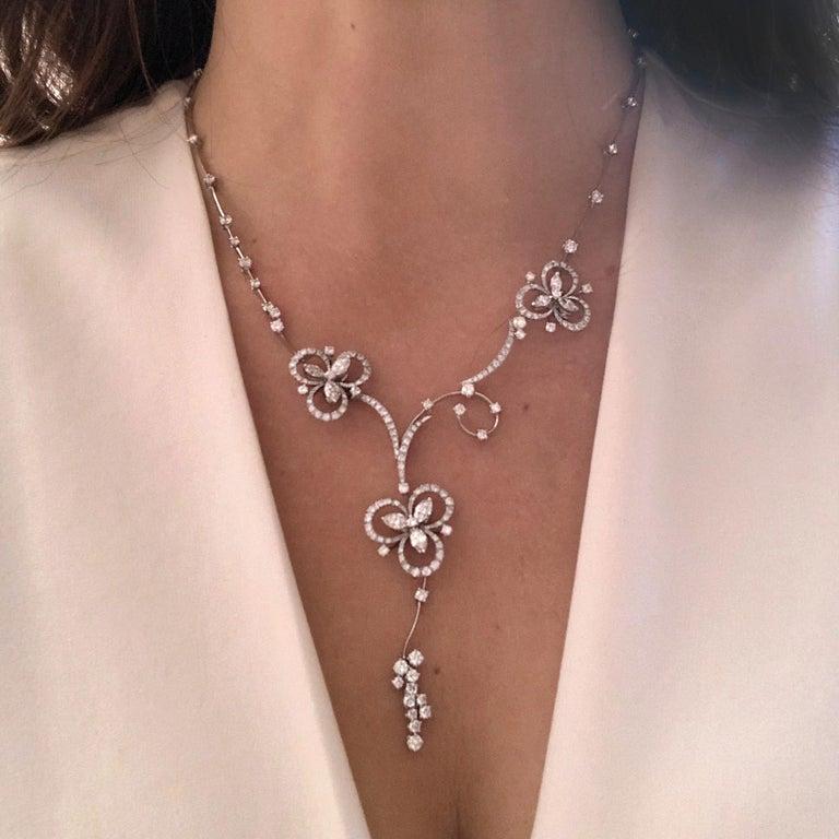 Mixed Cut Stefan Hafner 6.40 Carat 18kt White Gold Lucky Charm Diamond Necklace For Sale