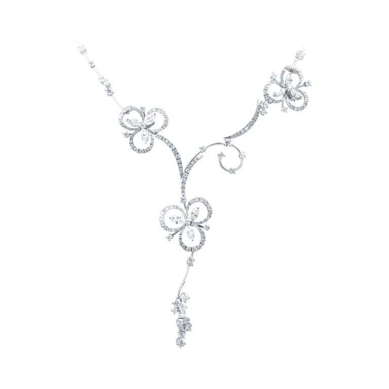 Stefan Hafner 6.40 Carat 18kt White Gold Lucky Charm Diamond Necklace For Sale