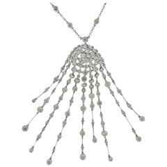 Stefan Hafner 7 Carat Diamond Gold Tassel Drop Pendant Necklace