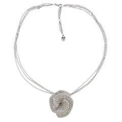 Stefan Hafner 8 Carat Diamond Flower Pendant Brooch Necklace