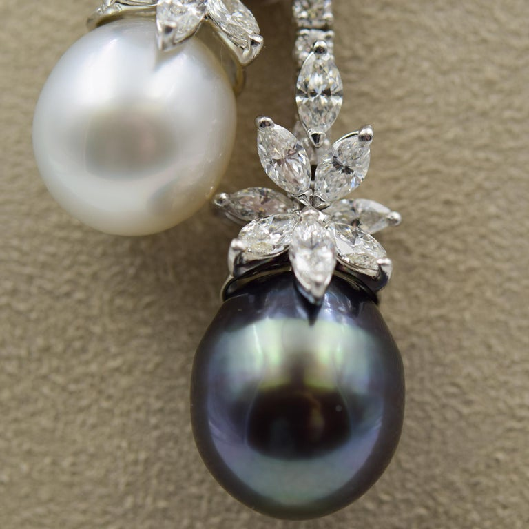 Stefan Hafner 9.00 Carat Diamond Necklace with South Sea Tahitian Pearls For Sale 3